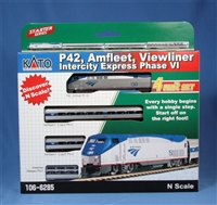 "Kato N Scale P42, Amfleet, Viewliner Intercity Express Phase VI 4-Car ""Starter Series"" Set"