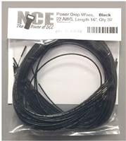 NCE PDWB32 Black Power Drop Wires, 22AWG